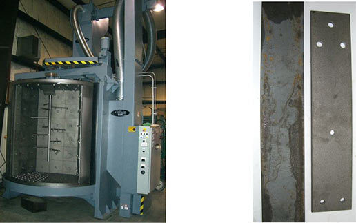 The Gibson Spinner Hanger Blast Cabinet (left), Parts before and after blasting (right)